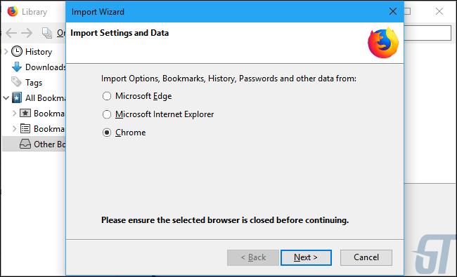 Выберите «Chrome» в мастере импорта