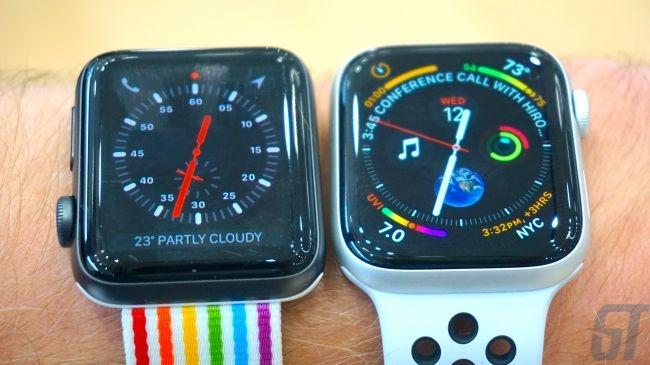 42-мм Apple Watch 3 и 44-мм Apple Watch 4